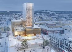 """Swedish firm White Arkitekter has won a competition to design a cultural centre and hotel in Skellefteå, Sweden, with its proposal for the """"tallest wooden building in the Nordic countries"""" (+ slideshow).    Named Kulturhus i Skellefteå, the 19-storey structure will contain a series of cultural facilities at its base and 16 hotel floors above, reaching a height of 76 metres."""