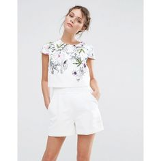 Ted Baker Reechi Playsuit (1.635 DKK) ❤ liked on Polyvore featuring jumpsuits, rompers, white, tall romper, floral print romper, white romper, floral romper and floral rompers