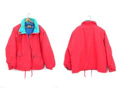 Retro 80s Puffer Jacket Coat Bright Red by dirtybirdiesvintage
