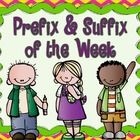 Improve your students' vocabulary with this Prefix and Suffix of the Week product!  This product teaches students the meaning of 35 of the most common prefixes and suffixes.