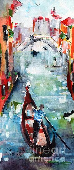 "A #Watercolor and Ink #Painting of a small canal and charming little bridge in romantic Venice. #Venice lies in #North Eastern #Italy. Part of 118 small islands which are separated by canals and linked by bridges. The city is known by many names among them ""The Floating City"" the ""City of Water"" ""City of Canals"" ""City of Masks"" ""City of Bridges"""