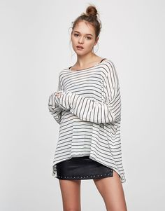 Pull&Bear - woman - clothing - what's new - basic sweater with slits - ice - 05557305-V2017