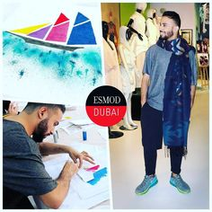 #ITLODay 1 of Esmod Dubai Fashion Design Workshop short course student Raed J. @raed_jamani looking urban cool in @bershkacollection tshirt @pullandbear shorts/leggings @nike sneakers and a @zara scarf to complete his ensemble. Hes creating his own custom tshirts using stenciling on fabric and learning about the various fabric dyes in class. - Ive been interested in fashion design for the past 10 years so I joined this course to learn as much as I can. I love haute couture and I hope to…