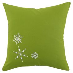 Kiwi-hued pillow with embroidered white snowflakes. Made in the USA.  Product: PillowConstruction Material: Poly...