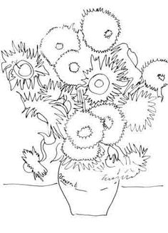 Sunflower Coloring Page Van Gogh Sunflower Coloring Pages, Colouring Pages, Coloring Books, Pablo Picasso Artwork, Sunflower Colors, Van Gogh Sunflowers, Van Gogh Art, Collaborative Art, Art Plastique