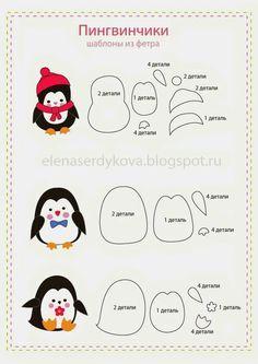 New Craft Felt Christmas Templates Ideas Felt Christmas Decorations, Felt Christmas Ornaments, Christmas Crafts, Christmas Templates, Felt Patterns, Applique Patterns, Felt Ornaments Patterns, Felt Penguin, Felt Templates