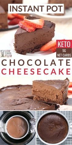 Chocolate Instant Pot Cheesecake (Keto) An easy keto chocolate cheesecake that bakes up in the Insta Frozen Cheesecake, How To Make Cheesecake, Low Carb Cheesecake, Chocolate Cheesecake, Cheesecake Recipes, Cheesecake Brownies, Low Carb Desserts, Low Carb Recipes, Snack Recipes