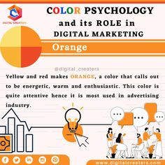 Red is the colour of action and yellow represents sunshine. When combined together, orange colour denotes warmth and happiness. It is used to draw the attention of customers and invokes energy. Brands like Fanta, MasterCard and Nickelodeon use Orange as their brand colour. For digital marketing, Social media Marketing contact us. #digitalmatketing #orange #orangecolor #attracts #contentmarketing #colors #socialmediamarketing #colorpsychology #advertising #searchengineoptimization