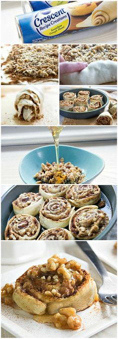 Baklava cinnamon rolls from crescents rolled with cinnamon, sugar, brown sugar, and crushed walnuts!