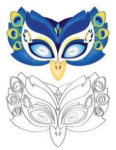 Printable Peacock Mask and more animals Printable Masks, Printable Animals, Free Printables, Tiki Maske, Peacock Birthday Party, Peacock Mask, Bird Costume, Peacock Costume, Bird Masks