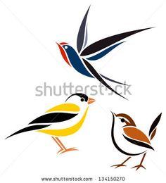 Stylized birds - Barn swallow, Winter wren and American goldfinch by Egret77, via ShutterStock