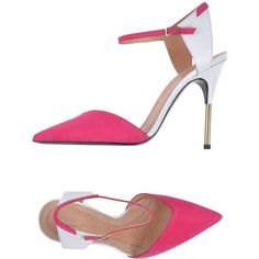 Roland Mouret Sandals ($195) ❤ liked on Polyvore featuring shoes, sandals, fuchsia, roland mouret shoes, buckle shoes, fuchsia sandals, fuschia sandals and leather sole shoes