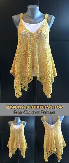 [Easy] Kanata Sleeveless Top – Free Crochet Pattern - Knitting patterns, knitting designs, knitting for beginners. Blouse Au Crochet, T-shirt Au Crochet, Point Granny Au Crochet, Mode Crochet, Black Crochet Dress, Crochet Gratis, Crochet Shirt, Crochet Woman, Crochet Baby