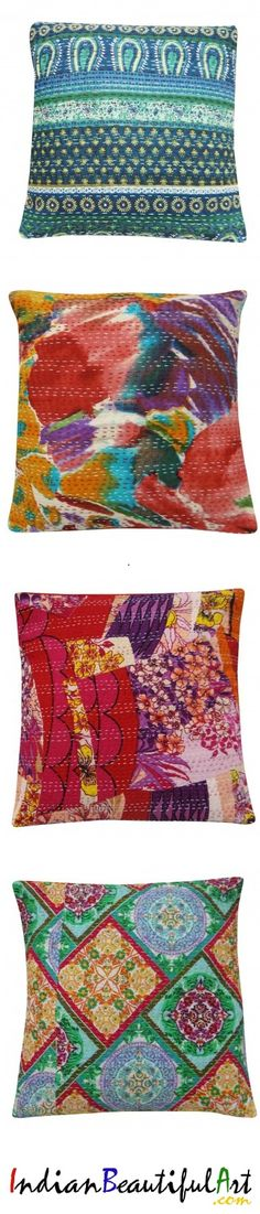 Check out sofa cushion covers in Kantha stiching. Made of cotton, meant for you. Outdoor Cushion Covers, Sofa Cushion Covers, Outdoor Cushions, Cushion Cover Designs, Wing Chair, Slipcovers, Bohemian Rug, Stitching, Wings