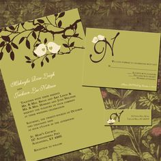 Sweet Birdies Custom Wedding Invitation Suite with RSVP cards and address labels.