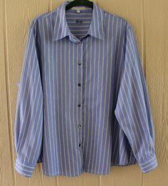 FOXCROFT18W Blue White Striped Shirt #FOXCROFT #ButtonDownShirt #Casual