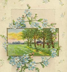 Vintage Birthday Postcard Pale Blue by TheOldBarnDoor on Etsy