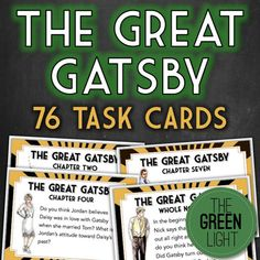 The Great Gatsby Task Cards: Discussion Questions, Quizzes, Bell-Ringers English Short Stories, Ap English, The Great Gatsby Setting, Cloze Reading, Reading Comprehension, English Teachers, Education English, Text Feature Anchor Chart, Teaching High Schools