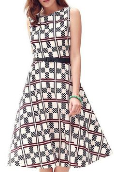 Geometrical Pattern High Waist Dress - US 17.95 5efd44852cb