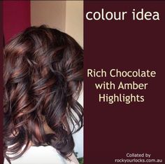 Rich chocolate with amber highlights Rich chocolate with amber highlights Hair Color And Cut, Haircut And Color, Fall Hair Colors, Brown Hair Colors, Blond Beige, Hair Highlights, Chocolate Brown Hair With Highlights, Chocolate Hair, Hair Color Caramel