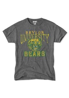 Baylor Bears Mens Fashion T-Shirt - Charcoal Collegiate Short Sleeve Tee