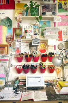Kate Bingaman-Burt, an illustrator and professor of graphic design based in Portland, Oregon has moved from a vibrant, character-packed workspace filled to the ceiling with color and design to a brand new shared studio. Get a taste of her new space with this quick tour.