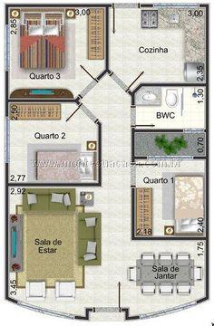 Planta de casa de até 100 m² com 3 quartos - this would make more sense if the kitchen and bedroom 1 were reversed. Bedroom House Plans, Dream House Plans, Small House Plans, House Floor Plans, Model House Plan, House Map, Apartment Plans, House Blueprints, Home Design Plans