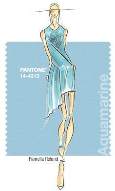 Pamella Roland in Pantone Aquamarine - SPRING 2015 PANTONE's #FashionColorReport