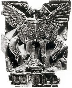 """: Heraldically opposed sfinxes, Ivory relief. From the """"House of Sfinxes"""", Mycenae. Ascribed to c. 1300-1200 BC. Illus. 162, Higgins, Minoan and Mycenaean Art. Pl. 97, Taylour, The Mycenaeans."""