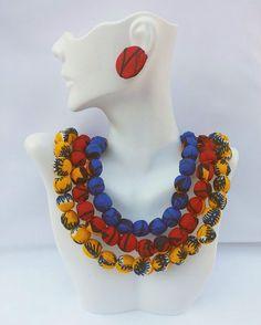 Blue/Red/Yellow Ankara Beaded Necklace Set by AnkaraStatement