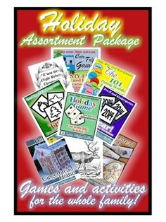Holiday assortment package of activities & games for ages 5-adult!  Perfect for families during holiday break! $12.00