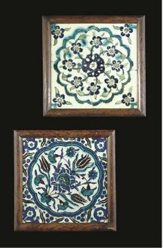 TWO FRAMED DAMASCUS POTTERY TILES, 17TH CENTURY