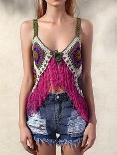 Crochet Tassels Cami Tank Top - Red One Size Crochet Cami Tops, Crochet Bikini, Crochet Top, Crochet Style, Boho Tops, Tankini Top, Bikini Tops, Mode Crochet, Rainbow Crochet