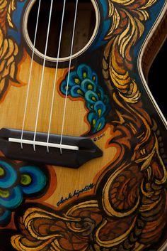 Hand painted handcrafted koa tenor ukulele, built by custom ukulele maker Jay Lichty, artwork by Clark Hipolito Ukulele Instrument, Tenor Ukulele, Guitar Painting, Guitar Art, Painted Ukulele, Painted Guitars, Ukulele Design, Hippie Love, Pretty Baby