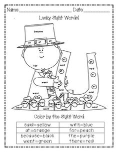Color by sight word leprechaun freebie.