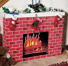 Nostalgic Fireplace Cardboard Kit Create your own Christmas scene with this high x wide fireplace cardboard kit. Diy Christmas Fireplace, Fake Fireplace, Christmas Past, Diy Christmas Gifts, Holiday Crafts, Vintage Christmas, Christmas Decorations, Holiday Decor, Celebrating Christmas