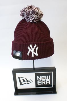 ffe6d6ba1c9 New Era MLB New York Yankees NY Logo Beanie Burgundy Knitted Winter Bobble  Hat