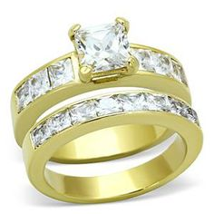 Gold Tone Stainless Steel Princess Cut CZ Engagement & Wedding Rings | Hope Chest Jewelry