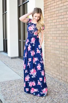 Anya Floral Maxi Dress in Navy