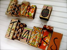 Give Thanks Wood Block set Decor... Perfect for the fall season... Also available in Double Sided