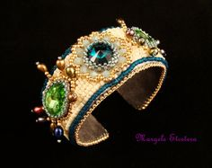 "EMERALD FOREST  Bead Embroidery Cuff Floral by ThezoraArtBijoux Use ""PINTEREST"" coupon at check-out and get 10% OFF!"