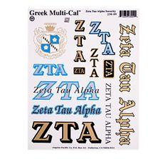 Zeta Tau Alpha Waterslide Crest & Letter Combinations