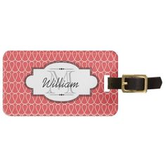 This beautiful luggage tag features white doodle loops on red on front and back with areas you can customize with your name and last name initial as well as phone number or full address.
