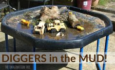 Make a diggers in the mud sensory play tray for lots of playful fun for toddlers and preschoolers to enjoy! Great messy and imaginative play for outdoors. Toddler Play, Baby Play, Toddler Preschool, Toddler Crafts, Toddler Activities, Nursery Activities, Fun Activities, Kids Crafts, Sensory Tubs