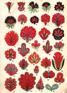 . Hungarian Embroidery, Folk Embroidery, Folk Art Flowers, Flower Art, Polish Folk Art, Posca Art, Creation Art, Scandinavian Folk Art, Art Graphique