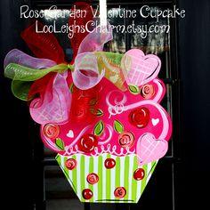Valentine Cupcake Door Hanger, The Rose Garden Valentine Cupcake. $45.00, via Etsy.