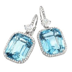 Stunning aquamarine and diamond earrings | From a unique collection of vintage drop earrings at https://www.1stdibs.com/jewelry/earrings/drop-earrings/