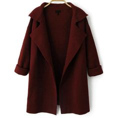 Burgundy Long Sleeve Lapel Knit Cardigans (1.180 RUB) ❤ liked on Polyvore featuring tops, cardigans, burgundy, knit top, red top, burgundy cardigan, long sleeve knit tops and knit cardigan