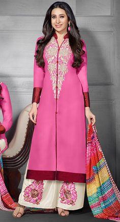 USD 34.84 Karisma Kapoor Pink Georgette Pakistani Style Suit 54526