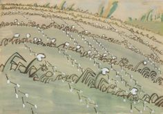 Charles Ephraim Burchfield (1893-1967)  Dandelion Field  signed and dated 'Chas Burchfield/1916' (lower left)--dated again 'May 1916' (on the reverse) watercolor, gouache and pencil on paper  14 x 20 in. (35.6 x 50.8 cm.)